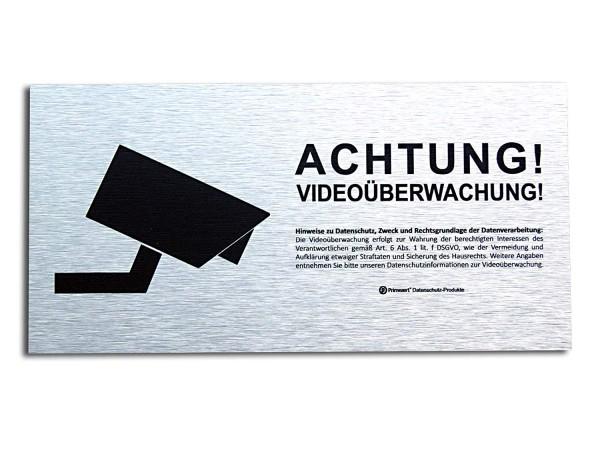 Datenschutz-Schild 10x20cm | Achtung! Video-Überwachung | Aluminium (gebürstet)